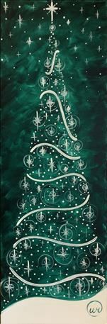 Open - Emerald Twinkle Tree Tall Canvas