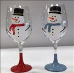 Wine Glasses-(set of 2)- Snowmen