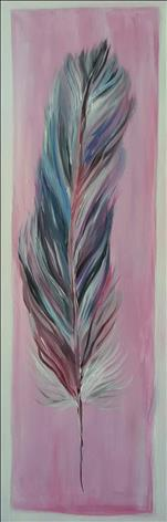 **TALL CANVAS** Feather In Pink
