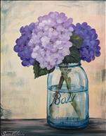 Purple Flowers in Mason Jar