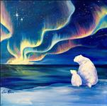 Polar Bears Under Northern Lights