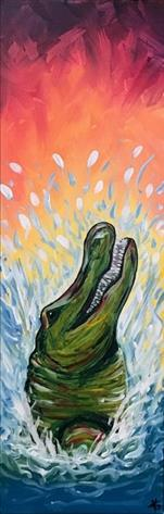 Colorful Gator (10x30 canvas or 10.5x26 wood)