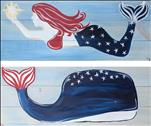 """Patriotic Mermaid & Whale Real Wood Board - Set"""