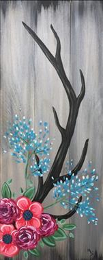 Antlers and Flowers | Real Wood Board