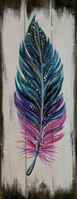Boho Feather Real Wood Board: Teens & Adults