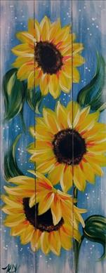 10.5 x 26 REAL PINE WOOD BOARD~ Rustic Sunflower