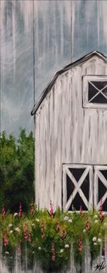 Rustic White Barn on a Real Wood Board