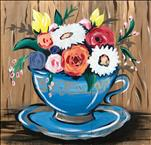 Vibrant Tea Flowers!!  {Real Wood Board}