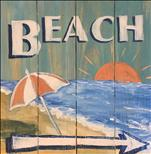 Vintage Beach Sign on Wood Plank Board!