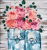 """Rustic Mason Jar Bouquet Real Wood Board"""