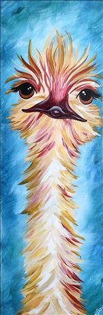 Ostrich on Turquoise - TALL 10x30