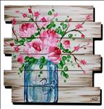 Wooden Pallet!  Pink bouquet