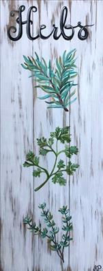 Fresh Garden Herbs Real Wood Board!