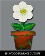 Family FUN! Potted Bloom on Wood Cutout