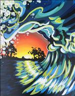 Sunset Wave-Adult Fingerpainting!