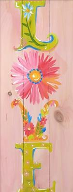 Flower Love on Real Wood Sign * Receive $10 GC!