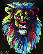Colorful Lion - ON BLACK CANVAS!  Adults Only