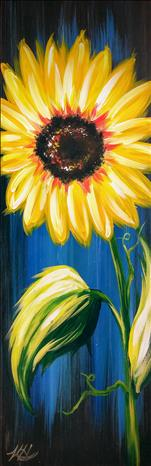 Rustic Sunflower On Blue (10x30 canvas)