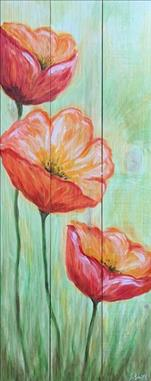 Peaceful Poppies!  Real Wood Board