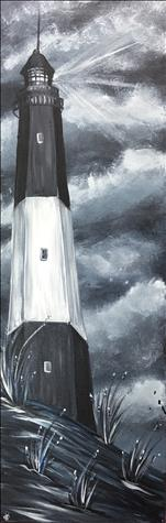 Black & White Lighthouse 10x30 canvas