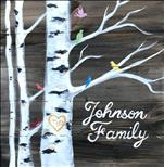 Family Birch Tree Real Wood Board or Canvas