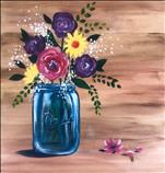 Blue Mason Jar Bouquet on Real Wood Boards