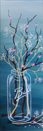 **10x30 LONG CANVAS** Cherry Blossom Jar