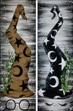 Autumn Rustic Friends! Choose Black Cat or Ghost!