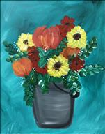 Fall Bucket of Blooms, Click here to paint!