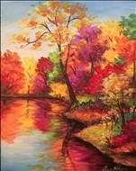 Fall Trees Reflected  16X20 NEW ART! 14+