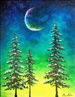 COFFEE and CANVAS - Moonlight & Pine Trees