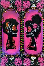 Neon Silhouette Man OR Woman~10x30 CANVAS OR WOOD