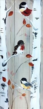 Chickadees on birch trees