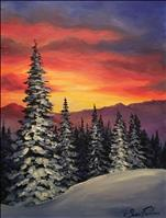 *Coffee n Canvas* Sunset over Snowy Pines