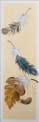 Falling Feathers!  Choose Canvas or Wood Board!