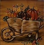 Wheelbarrow of Fall 12x12 canvas or Shiplap board