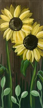 Early Morning sunflowers real wood board