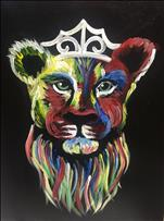 Colorful Lioness ON BLACK CANVAS!   Adults Only