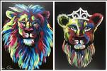 Colorful Lions - Paint 1 or the Set! (Adults 18+)