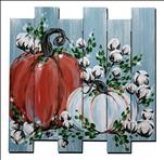 Pumpkins and Cotton on Blue * Wood Pallet*