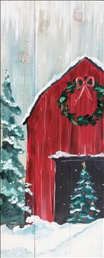 Rustic Christmas Barn, Real Wood Board