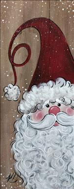 Rustic Santa on Canvas or Real Wood Board