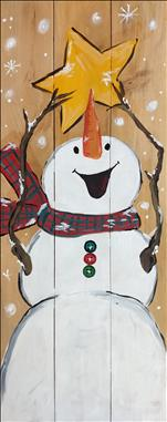 Cheerful Snowman *Real Wood Board or Canvas*