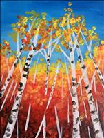 Red Leaves on the Birch Trees