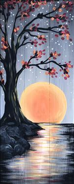 Oak Tree Harvest Moon on a  Real Wood Board!