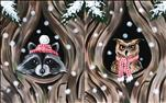Winter, Snowy Retreat - Racoon or Owl