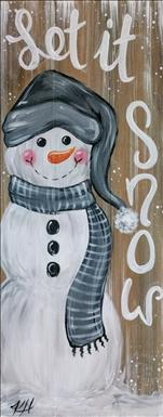 Cozy Farmhouse Snowman-Wood/Canvas! 18+