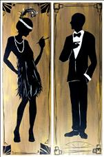 FREE BOTTLE OF CHAMPAGNE-Roaring 20's Couple - Set