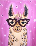 Adorable Llama Love on Canvas