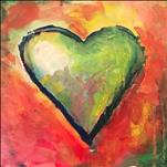 Colorful Abstract Heart on 12 x 12 Canvas
